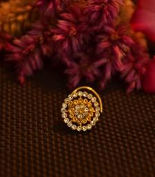 Designer 42 Diamond yellow cubic zirconia Bridal nose ring for Wedding