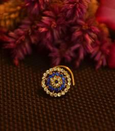 Designer 42 Diamond blue cubic zirconia Bridal nose ring for Wedding