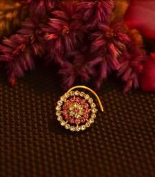 Designer 42 Diamond Pink cubic zirconia Bridal nose ring for Wedding