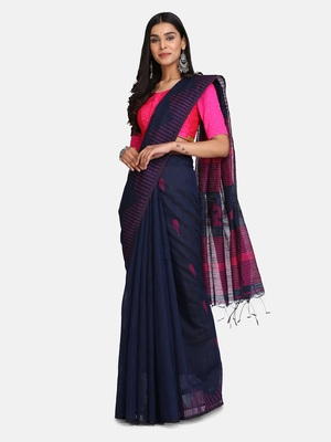 navy Blue Triangle Design Hand Weaven Cotton Silk Handloom Saree With Blouse