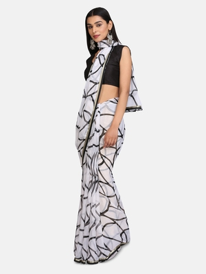 White Printed Chiffon Saree With Blouse
