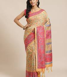 Gold woven pure viscose saree with blouse