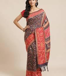 Navy blue woven pure viscose saree with blouse