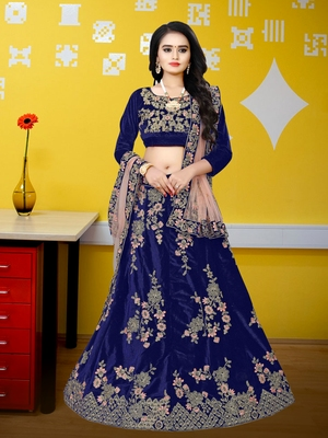 Navy Blue Colored Designer Partywear Embroidered Work Velvet Material Cancan  Lehenga Choli