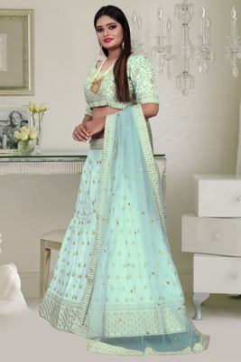 Unique Olive Green Colored Embroidery Work Party Wear Designer Raw Silk  Cancan Lehenga Choli
