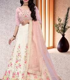 Beautiful Off White Colored Designer Partywear Embroidered Work satin Material  Cancan Lehenga Choli