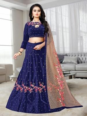 Blue Colored Designer Partywear Embroidered Work Velvet Material  Cancan Lehenga Choli
