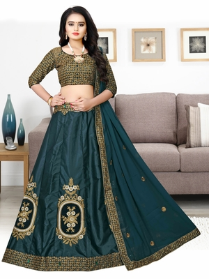 Drasty Green Embroidered Attractive Party Wear Malay satin  Cancan lehenga choli With Stone work