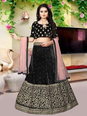 Black Colored Designer Partywear Embroidered Work Velvet Material  Cancan Lehenga Choli