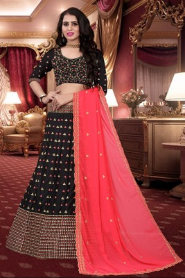 Black Colored Designer Partywear Embroidered Work Malay satin Material Cancan  Lehenga Choli