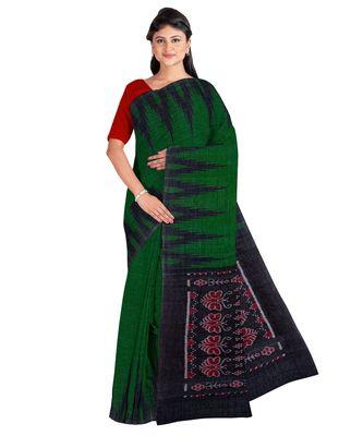 Bottle Green Weaving Work Cotton Ikkat Handloom Saree With blouse piece