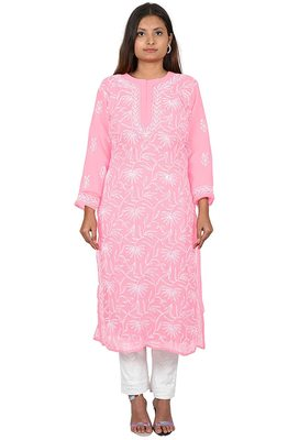 Lavangi Lucknow Chikankari Tepchi Work Chiffon Kurti (Pink)