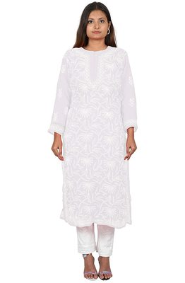 Lavangi Lucknow Chikankari Tepchi Work Chiffon Kurti (White)