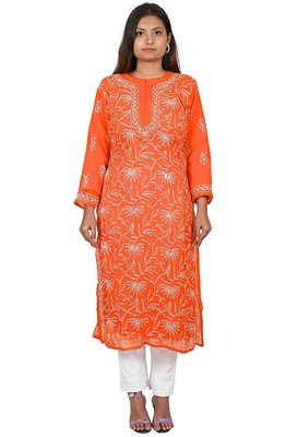 Lavangi Lucknow Chikankari Tepchi Work Chiffon Kurti (Orange)