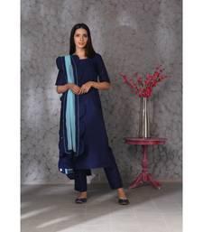 Blue art silk kurta set paired with scalloup duppatta