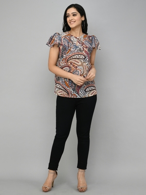 White printed georgette long-tops
