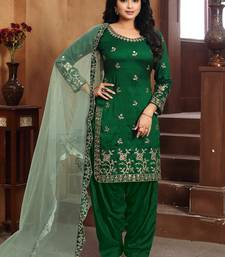 Dark-green embroidered art silk salwar