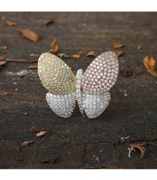 three tone beautiful butterfly diamond  ring
