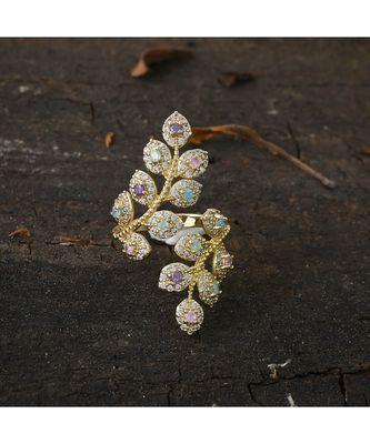 golden silver stylish adjustable diamond ring