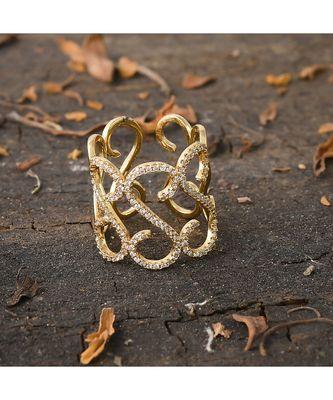golden designer stylish smart look diamond ring