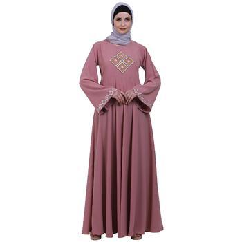 Emirates Umbrella abaya with embroidery work- Baby Pink