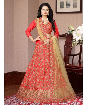 Outstanding Tomato Red Colored Partywear Designer Embroidered Malay Satin  CancanLehenga Choli