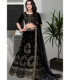 Exceptional Black Colored Partywear Designer Embroidered Velvet lehenga Choli