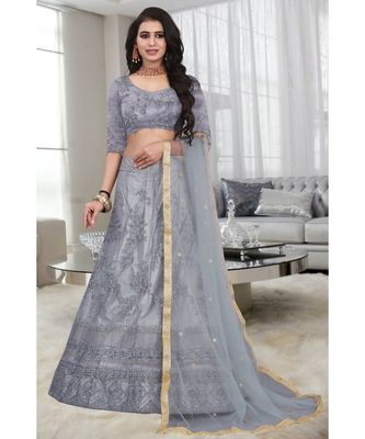 Grey Embroidered Attractive Party Wear silk  Cacan Lehenga choli