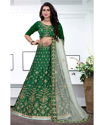 Green Colored Designer Partywear Embroidered Work Malay satin Material Cancan Lehenga Choli