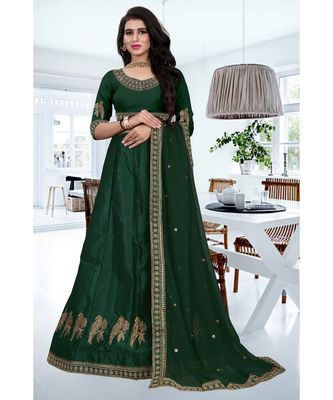 Green Colored Designer Partywear Embroidered Work Silk Material  Cacan Lehenga Choli