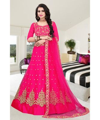 PINK COLORED PARTYWEAR DESIGNER EMBROIDERED NET WITH MALAY SATIN MATERIAL CANCAN  LEHENGA CHOLI