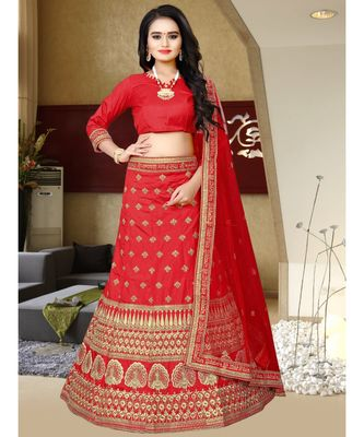 RED COLORED PARTY WEAR DESIGNER EMBROIDERED MALAY SATIN CANCAN LEHENGA CHOLI