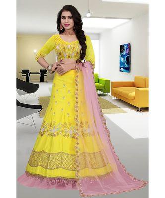 Yellow Colored Party Wear Cancan Lehenga Choli