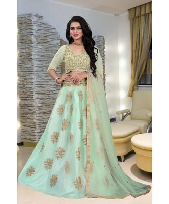Unique Olive Green Colored Embroidery Work Party Wear Designer Net with Raw Silk  Cancan Lehenga Choli