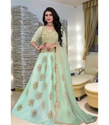 Unique Olive Green Colored Embroidery Work Party Wear Designer Net with Raw Silk Lehenga Choli