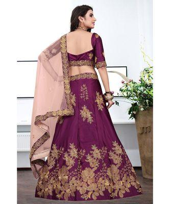 Magenta Colored Partywear Designer Embroidery Work Silk material  Cancan Lehenga Choli