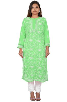 Lavangi Lucknow Chikankari Tepchi Work Chiffon Kurti (Light Green)