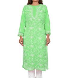 Lavangi Lucknow Chikankari Tepchi Work Chiffon Kurti (Light Green)