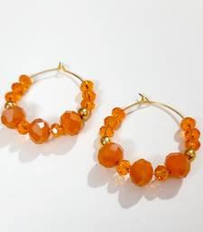 Orange crystal hoops