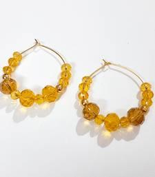 Yellow crystal hoops