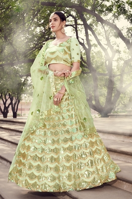 Light-green sequins net semi stitched lehenga