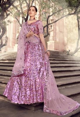 Lilac sequins net semi stitched lehenga