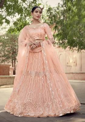 Peach sequins net semi stitched lehenga