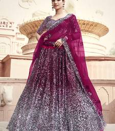 Wine sequins net semi stitched lehenga