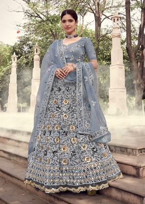 Grey sequins net semi stitched lehenga