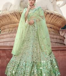 Light-green sequins net semi stitched lehenga