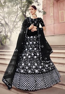 Black sequins net semi stitched lehenga