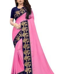 Pink Vichitra Silk Jacquard Lace saree With Blouse Piece.