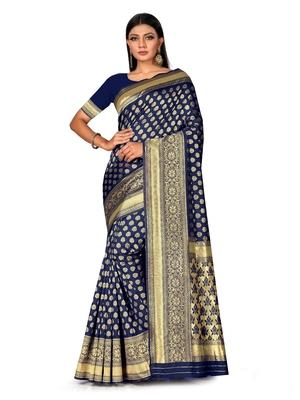 Mehrang Navy Blue Woven Banarasi Silk Saree with Blouse