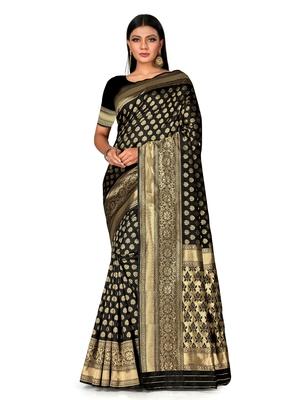Mehrang Black Woven Banarasi Silk Saree with Blouse
